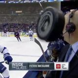 Pierre McGuire Nearly Eats a Puck During Broadcast