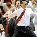Nebraska's Head Coach Enjoys Victory Pratfall after Big Ten Tourney Win