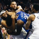 Joel Embiid Does That Broad Street Bully Thing to Karl-Anthony Towns