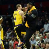 LeBron James Chest Bumps Role Player Alex Caruso into Oblivion