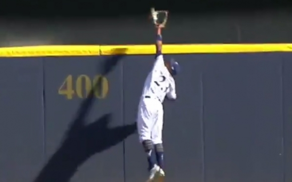 Brewers CF Makes Absurd Catch to Save Game