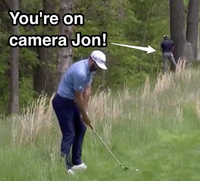 Jon Rahm Pees on a Tree in Camera Range during PGA Championship