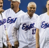 Those were the days. From left: Darrin Fletcher, Larry Walker, Felipe Alou, and Denis Boucher.
