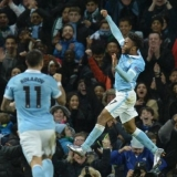 Sterling's flying like Superman.